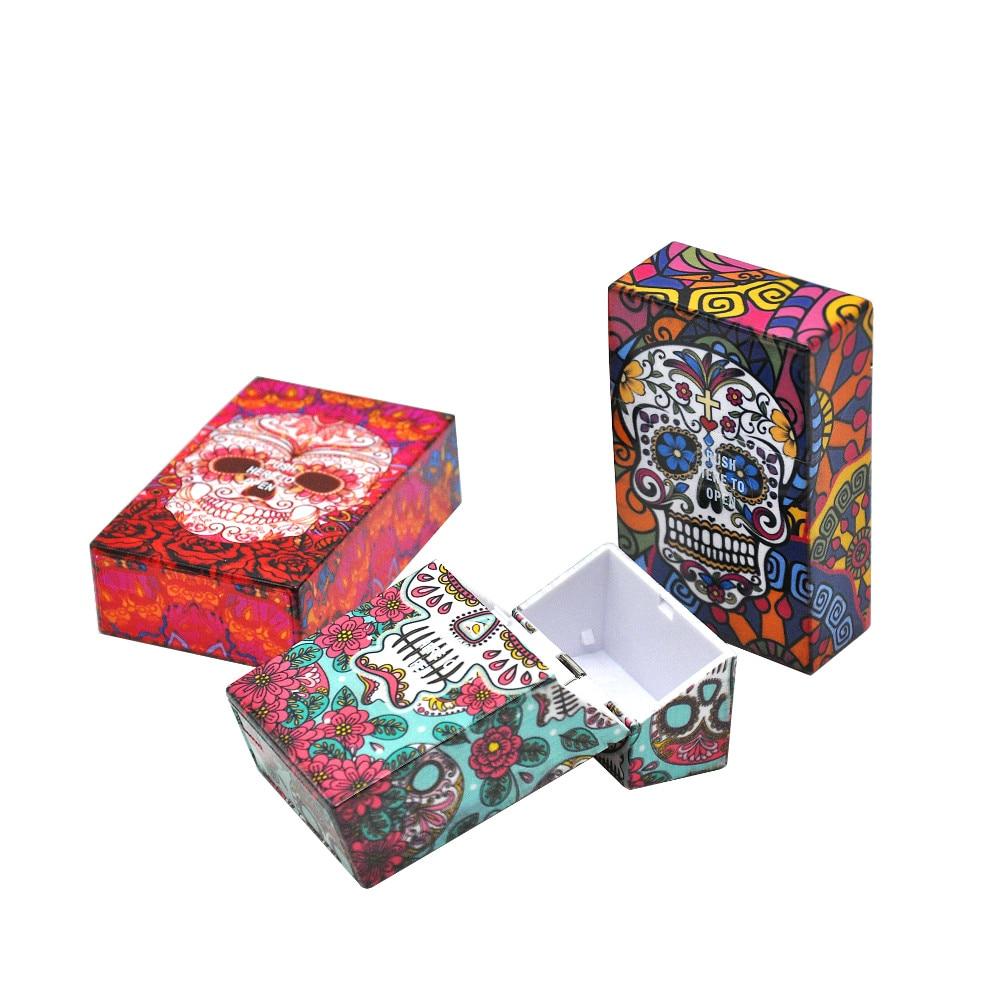 Design extravagante borboleta & crânio caixa de cigarro de plástico tamanho 95x60mm caixa de cigarro pacotes de cigarros de tabaco caso capa de armazenamento