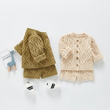 Yg Baby suit spring and autumn new tweed suit Long Sleeve Top Shorts cotton cardigan two piece set