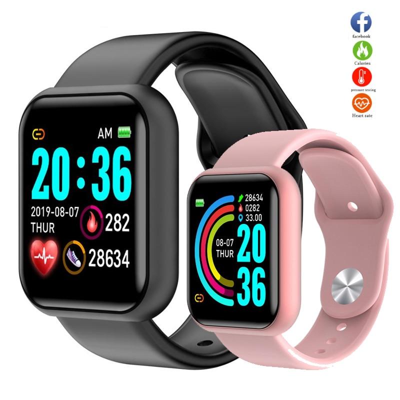 Reloj inteligente Y68 2020 impermeable con Bluetooth, Monitor de presión arterial, Monitor de ritmo cardíaco, Smartwatch para Apple IOS Android