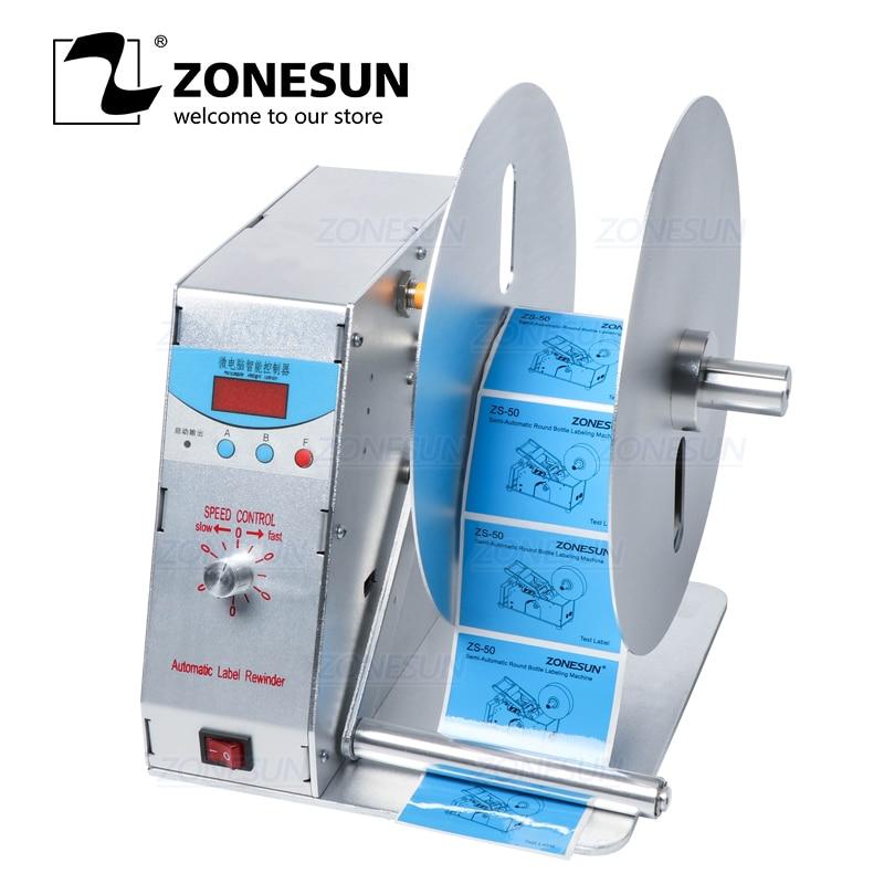 Bobinadora automática de etiquetas ZONESUN para lavado de ropa, etiqueta de código de barras, precio y etiqueta de código, máquina de rebobinado ajustable