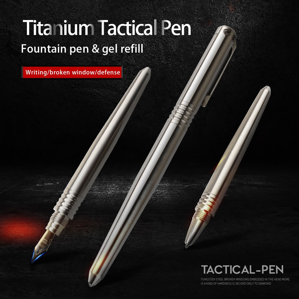 Titanium tactical pen multi-function broken window high hardness outdoor safety defense tool pen недорого