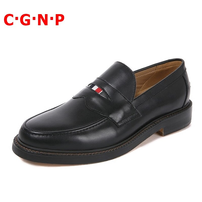 C·G·N·P New Arrival Black 100% Real Cow Leather Loafers Men Dress Shoes Round Toe Business Casual Shoes Party And Wedding Shoes