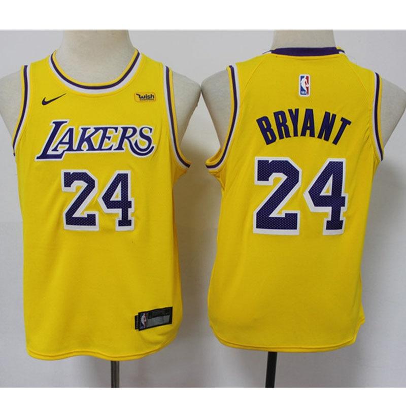 Lakers-camiseta de la NBA juvenil para niños, camiseta baloncesto 24 Bryant amarillo...