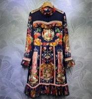 2021 spring summer runways floral print women stand collar dress high quality elegant long sleeves dress c800