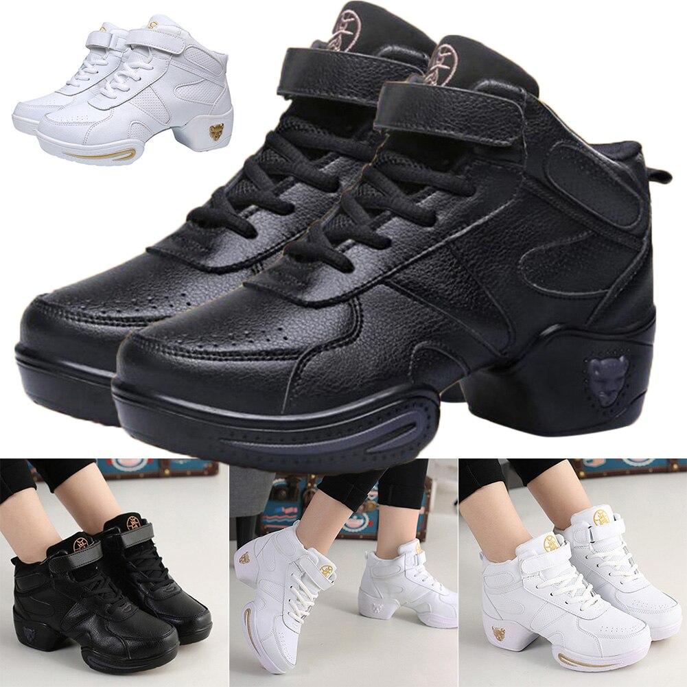 Newly Comfortable Women Fashion Leather Modern Soft Bottom Dance Shoes Jazz Aerobics Athletic Sneake