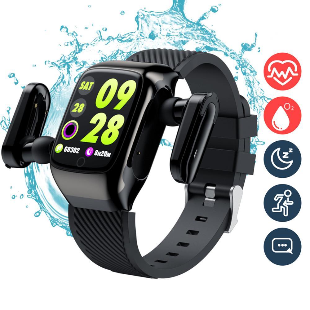 Fone de Ouvido para Mulheres dos Homens à Prova Rastreador de Fitness 2 em 1 Relógio Inteligente Bluetooth Dwaterproof Água Esportes Pulseira Monitor Freqüência Cardíaca 5.0