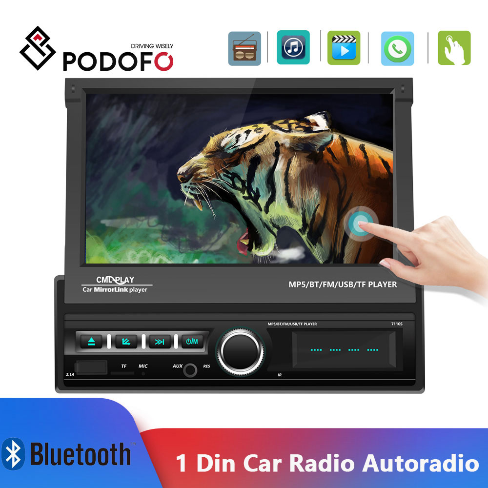 Podofo 1din Auto Radio 7'' Autoradio Touch Screen Car Multimedia Player Spiegel Link Auto Stereo MP5 Bluetooth FM Kassette Player