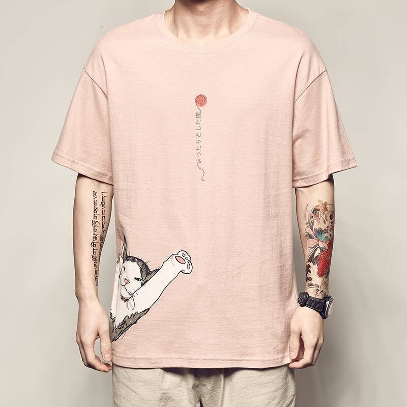 2020 camiseta de hip hop para hombres ukiyo japonés E Cat camiseta Harajuku Streetwear camiseta pantalón corto casual manga verano Tops Tee Japón estilo
