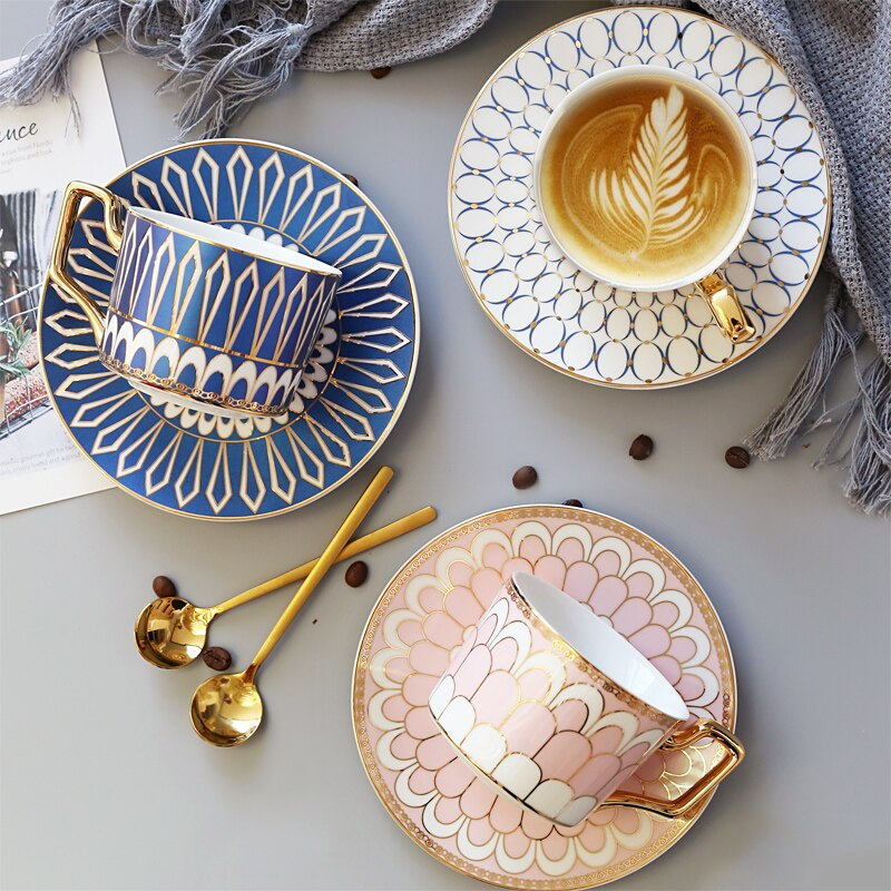 طقم فنجان قهوة وصحون للسفر ، على الطراز الأوروبي ، إبداعي ، عصري ، تقليدي ، مع حافة ذهبية ، لـ BD50CS