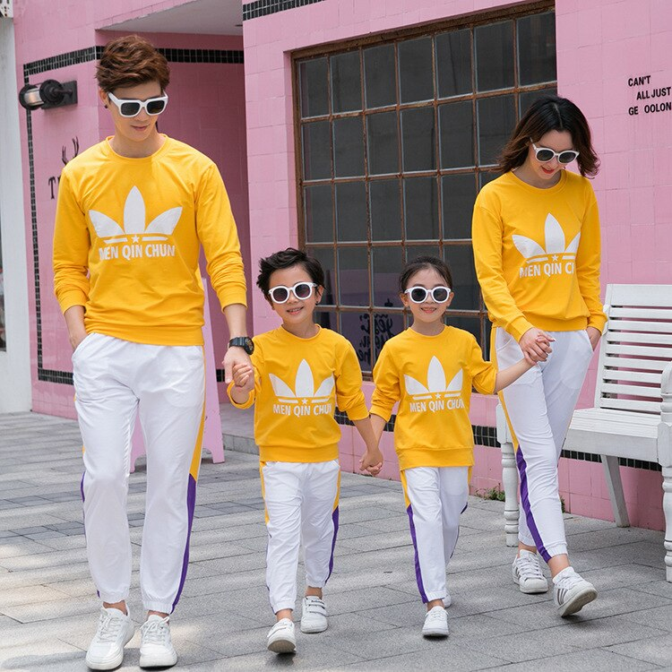 Ropa para madre e hija 2019, Sudadera de cuello redondo de manga larga de algodón para padre, madre e hijo, conjunto deportivo informal para Familia