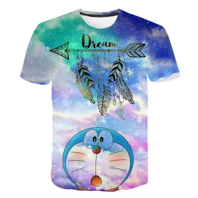 Cute short-sleeved T-shirts for boys and girls in 2021 Doraemon The favorite summer clothing for beautiful girls