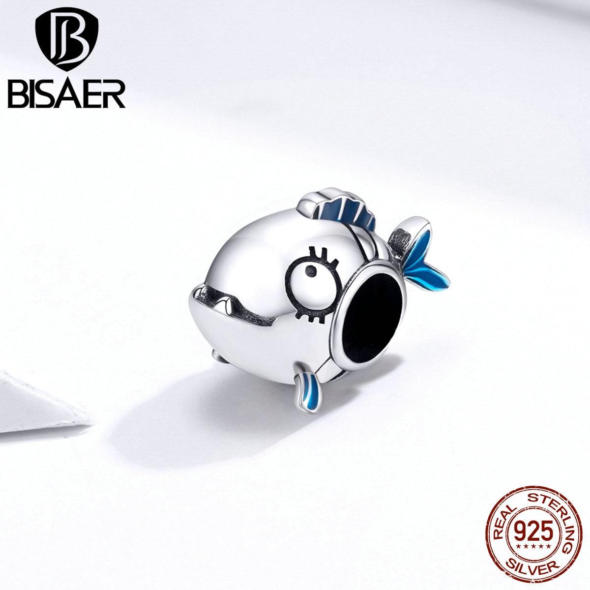 BISAER Ocean Fish Charms 925 Sterling Silver 3D Design Fish Bead Pendant fit Original Bracelets DIY Necklace Jewelry ECC1476