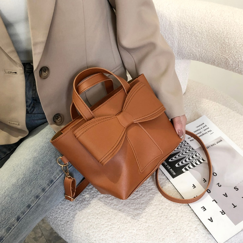 New Fashion Style Bow Tie Bags for Women Solid Color High Quality PU Leather Shoulder Bag Ladies Fashion Crossbody Bag