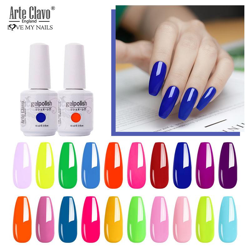 AliExpress - Arte Clavo Neon Color 15ml Gel Nail Polish Semi Permanent LED Nail Art Soak Off Varnish Lacqure Fluorescent Polish Manicure Gel