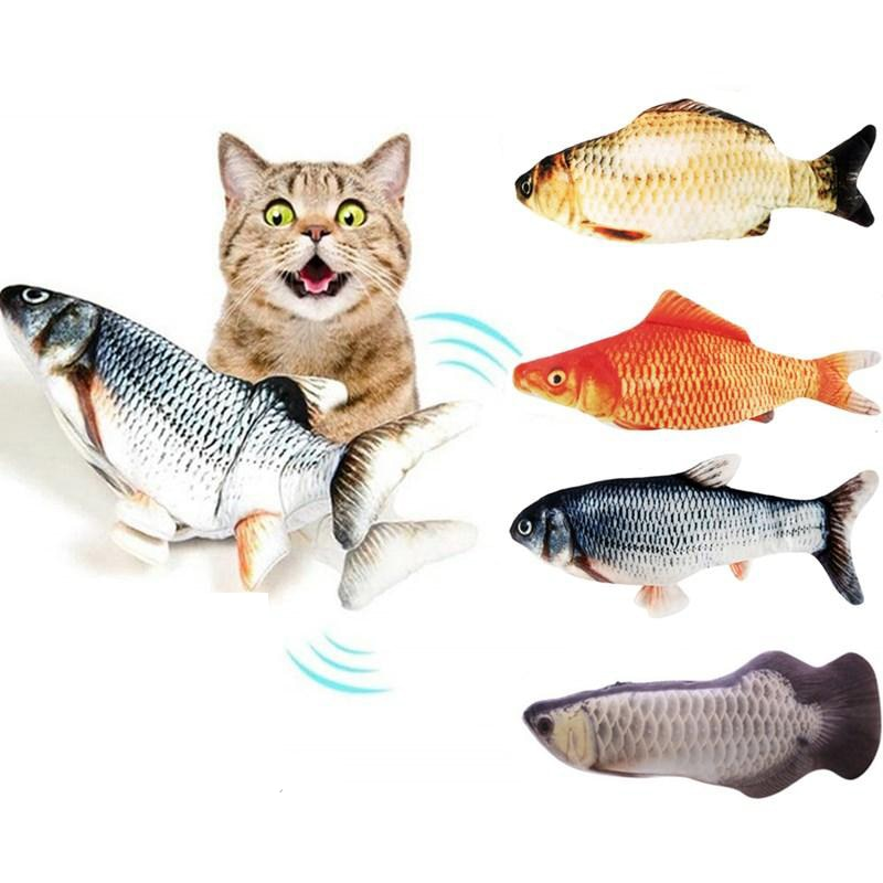 1PC Cat Wagging Catnip Toy 30CM Dancing Moving Floppy Fish Cats Toy USB Charging Simulation Cat Toy