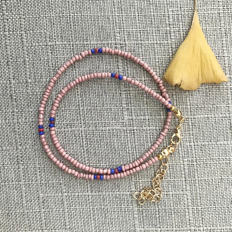 Женские Бусы из стеклянных бусин DM, синий и розовый цвета, короткое ожерелье, модные фарфоровые украшения в стиле бохо, аксессуары для женщи...