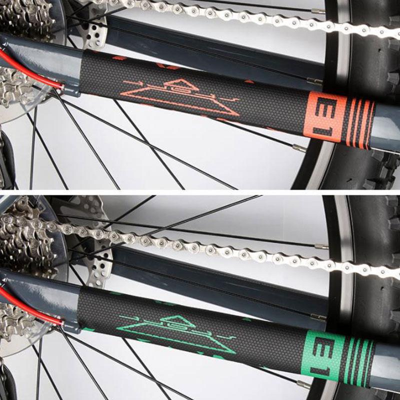 Bisiklet şasisi zincir koruyucu bisiklet dağ bisikleti kalmak ön çatal koruma görevlisi koruyucu ped Wrap kapak