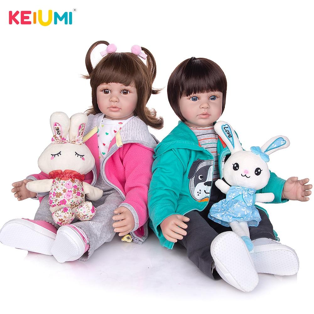 KEIUMI 60 cm Silicone Soft Vinyl Twins Reborn Dolls True to Like Princess Newborn Baby Dolls Boneca Toys For Kid Birthday Gifts