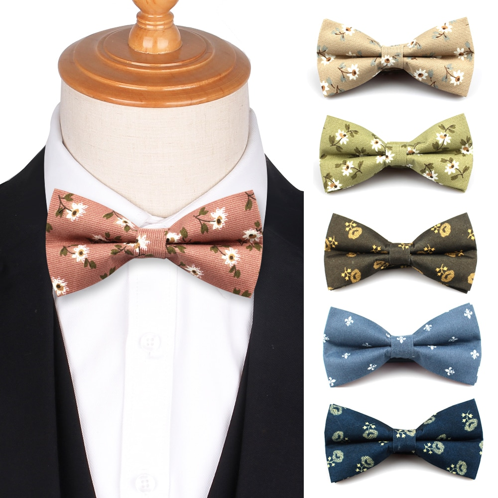 Flower Print Bow tie For Men Women Groom Bow Ties For Wedding  Floral Casual Boys Bowtie Cravat British Style Vintage Bowties недорого