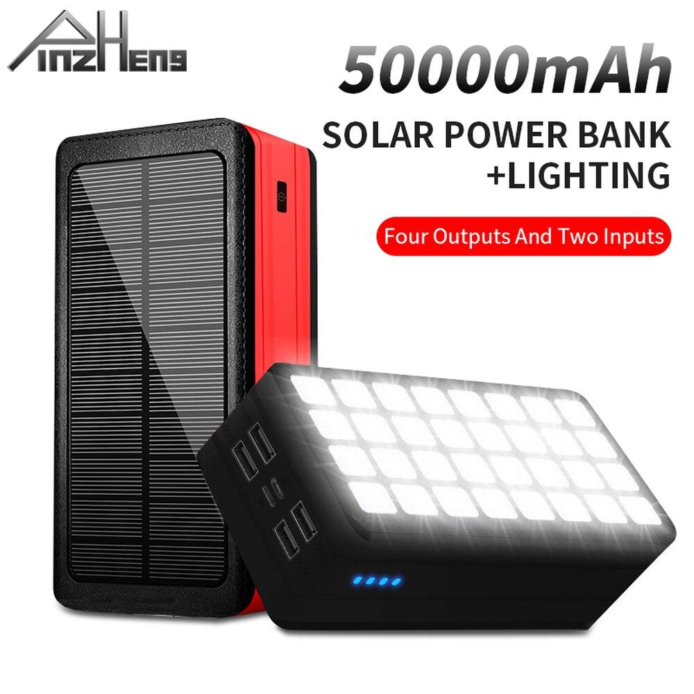 PINZHENG 50000mAh خزان طاقة يعمل بالطاقة الشمسية للتخييم في الهواء الطلق باور ربنك لشحن الهاتف شاحن محمول بطارية شاشة ديجيتال Powerbank