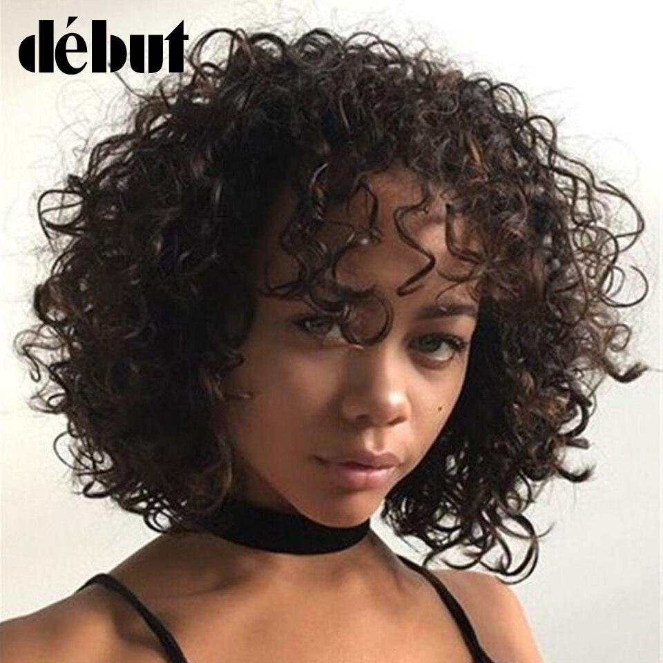 Debut rizado pelucas con flequillo corto rizado Bob pelucas para mujeres negras 100% Remy pelo humano con corte Bob pelucas negro barato pelucas completas envío gratis