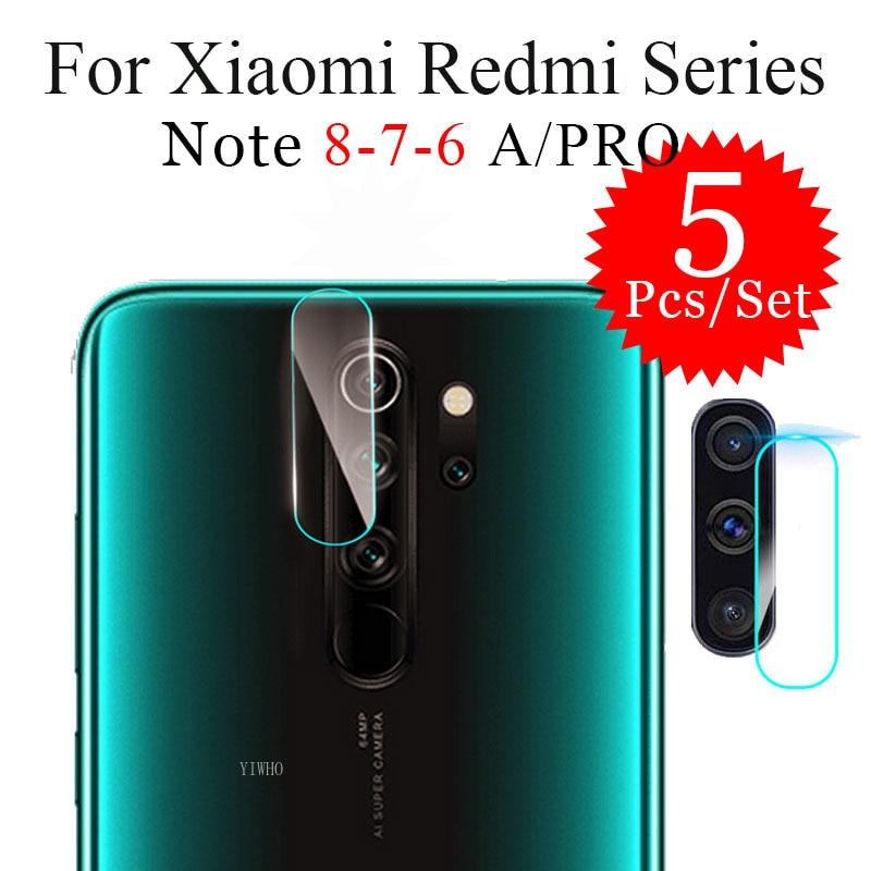 5 unidades/juego para Xiaomi Redmi Note 8 Pro 6 7 8 A 6A 7A 8A en lente de cámara de cristal templado NOTE 8T 6 Note8 Pro, película protectora de seguridad