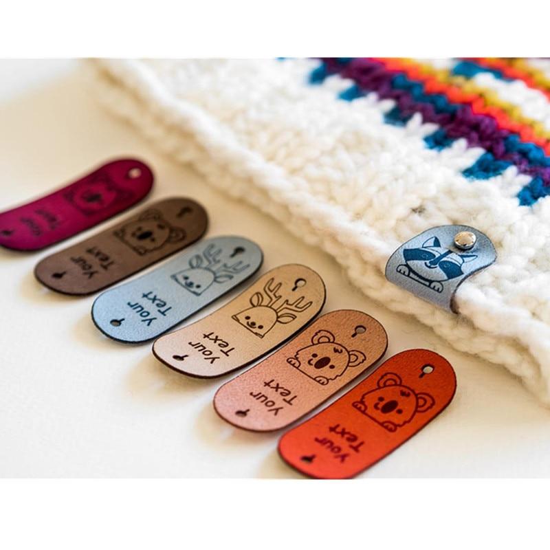 30 قطعة العلامات الجلدية rivets تسمية مخصصة اليدوية knitting الكروشيه خياطة على قبعة الملابس labels بها بنفسك تسميات مع شعار الحرفية