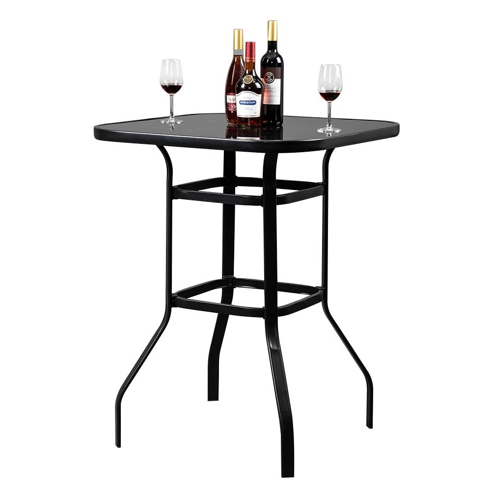 【US warehouse】mesa de Bar alta de vidrio de hierro forjado mesa de...
