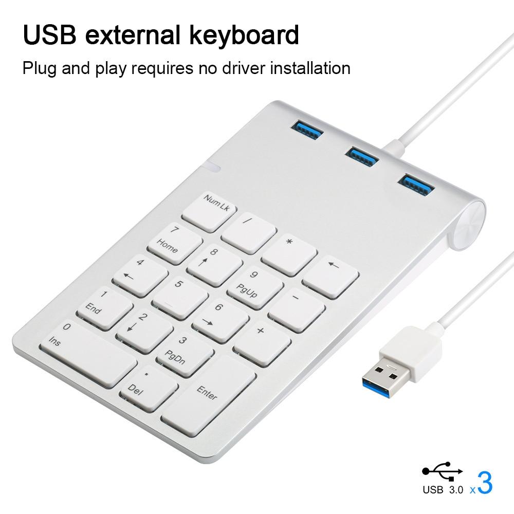 Teclado numérico de 18 teclas con tres USB3.0, miniteclado con cable para...