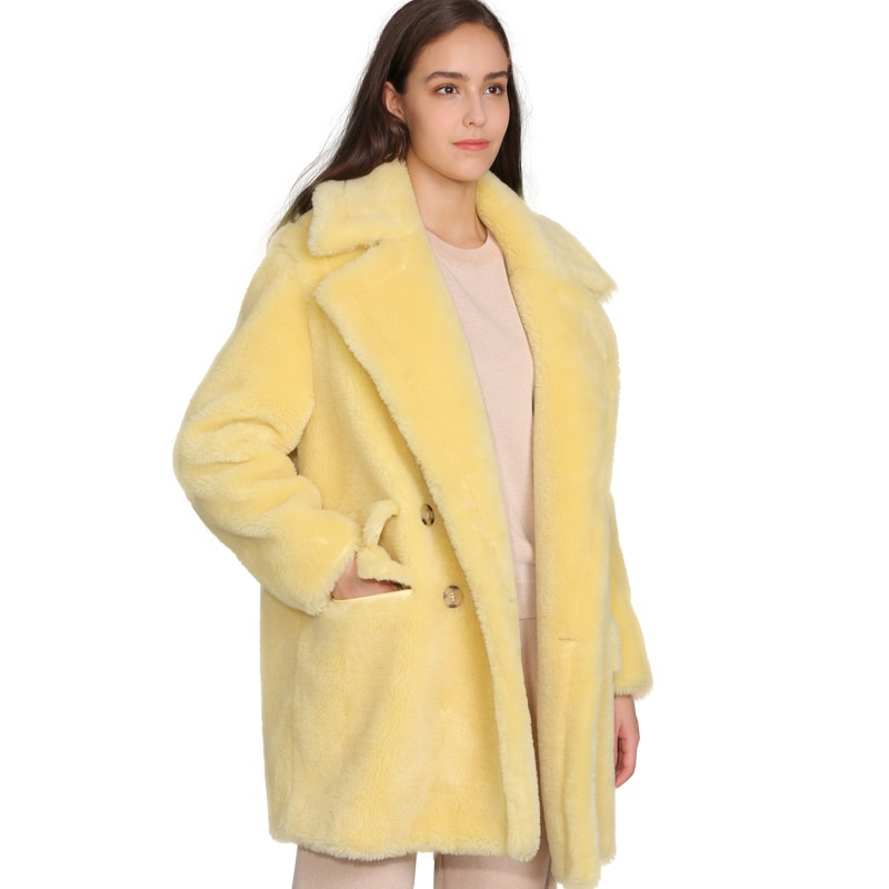 MAOMAOFUR الصوف الحقيقي تيدي معطف المرأة موضة جديدة الفراء الحقيقي الأغنام سترة الإناث الدافئة المعتاد الشتاء ملابس خارجية الصوف الملابس