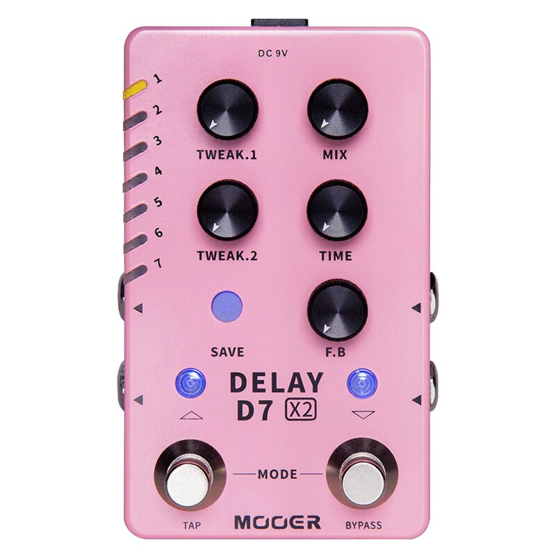 Mooer D7 Delay X2 Stereo Delay Pedal 14 Delay Effects Guitar Pedals Tap Tempo Function Electric Guitar Parts Accessories