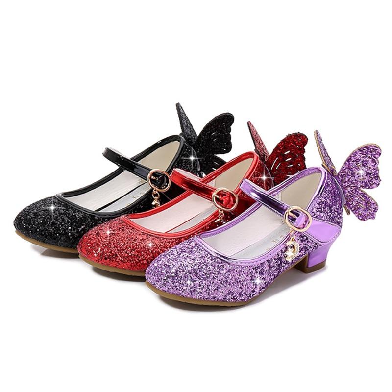 Фото - Кожаные туфли для девочек; Туфли принцессы; Детские туфли на высоком каблуке с блестками и бабочкой светильник легкие танцевальные туфли élysèss туфли