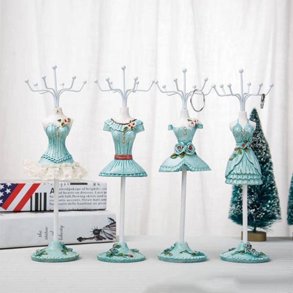 Elegante colgador de Estante de presentación de joyería de 25 cm/10 pulgadas para guardar collar, pulsera, pendientes, anillos, romántico azul