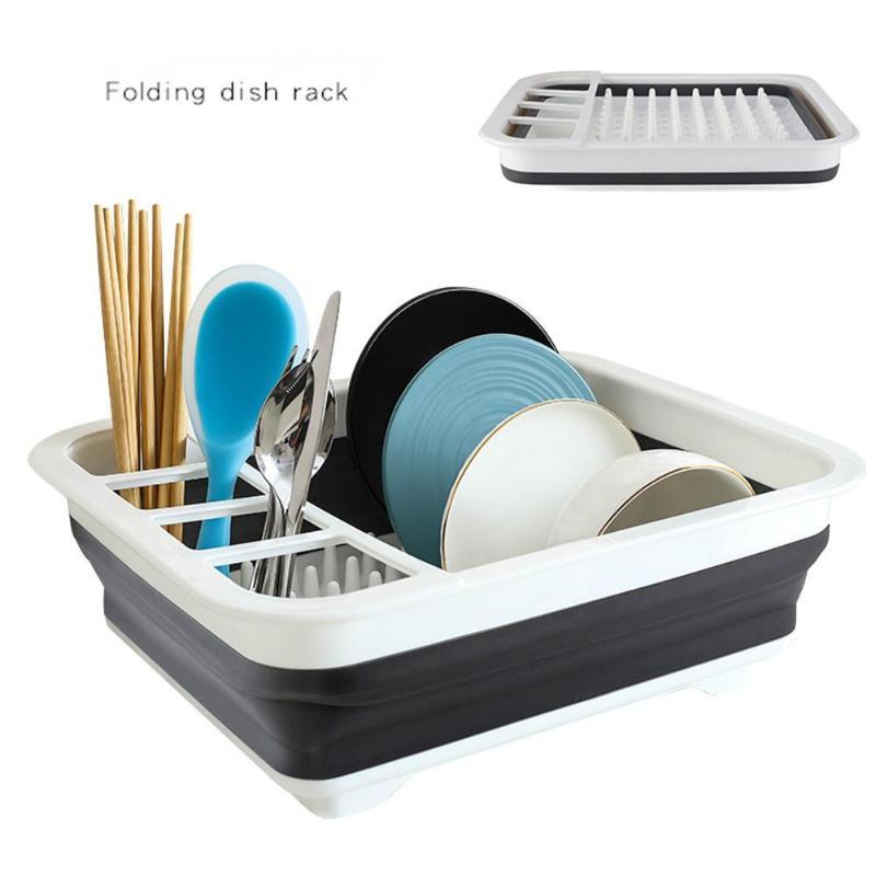 Escurridor de drenaje plegable estante para platos cubiertos caja de almacenamiento plegable escurridor de platos soporte de cubertería soporte de taza herramientas de cocina
