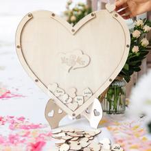 Romantique Double coeur forme mariage Signature Puzzle mémoire invité livre personnalité contreplaqué grand amour coeur