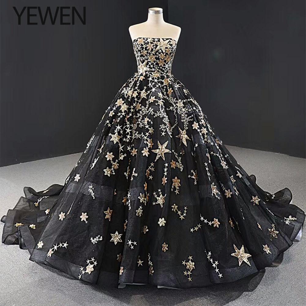 Preto com bordados de ouro vestidos de casamento 2020 strapless plus size vestidos de noiva elegante vestido de noiva para pregan