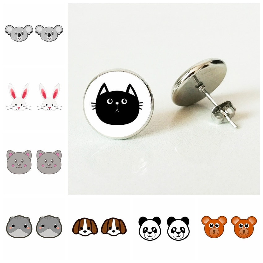 2021 New Teddy Bear Dog Rabbit Pig Face Stud Earrings Funny Animals Glass crystal Earring Children Stud Earrings Jewelry