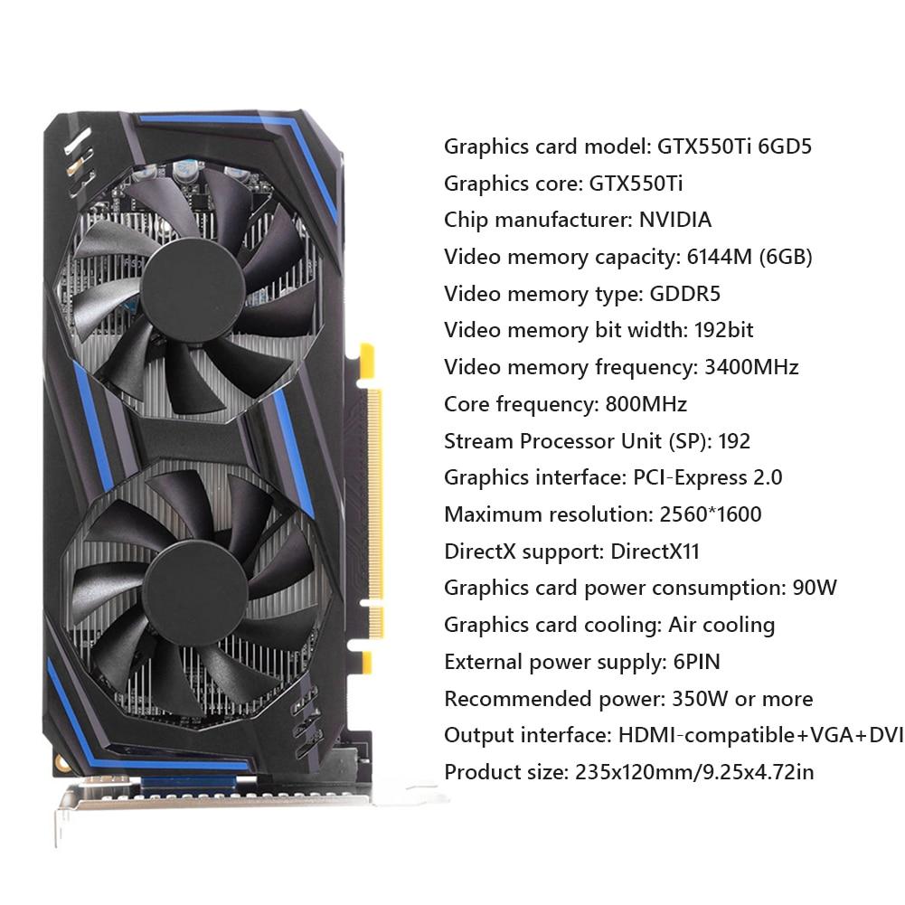 New Graphics Card GTX550Ti 6GB 192bit GDDR5 Desktop Dual Cooling Fans Gaming Video Card PCI-Express 2.0 HDMI nVIDIA Geforce 6GD5