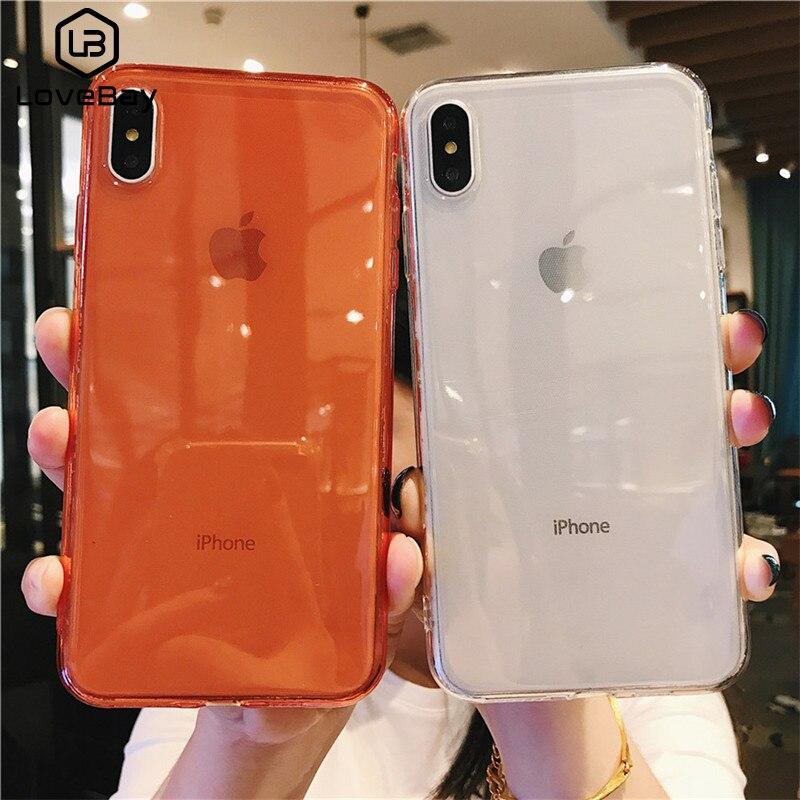 Funda de teléfono Color caramelo sólido Lovebay para iPhone 11 7 8 6 6s Plus X XR XS Max 11Pro Max transparente claro suave TPU funda trasera Capa