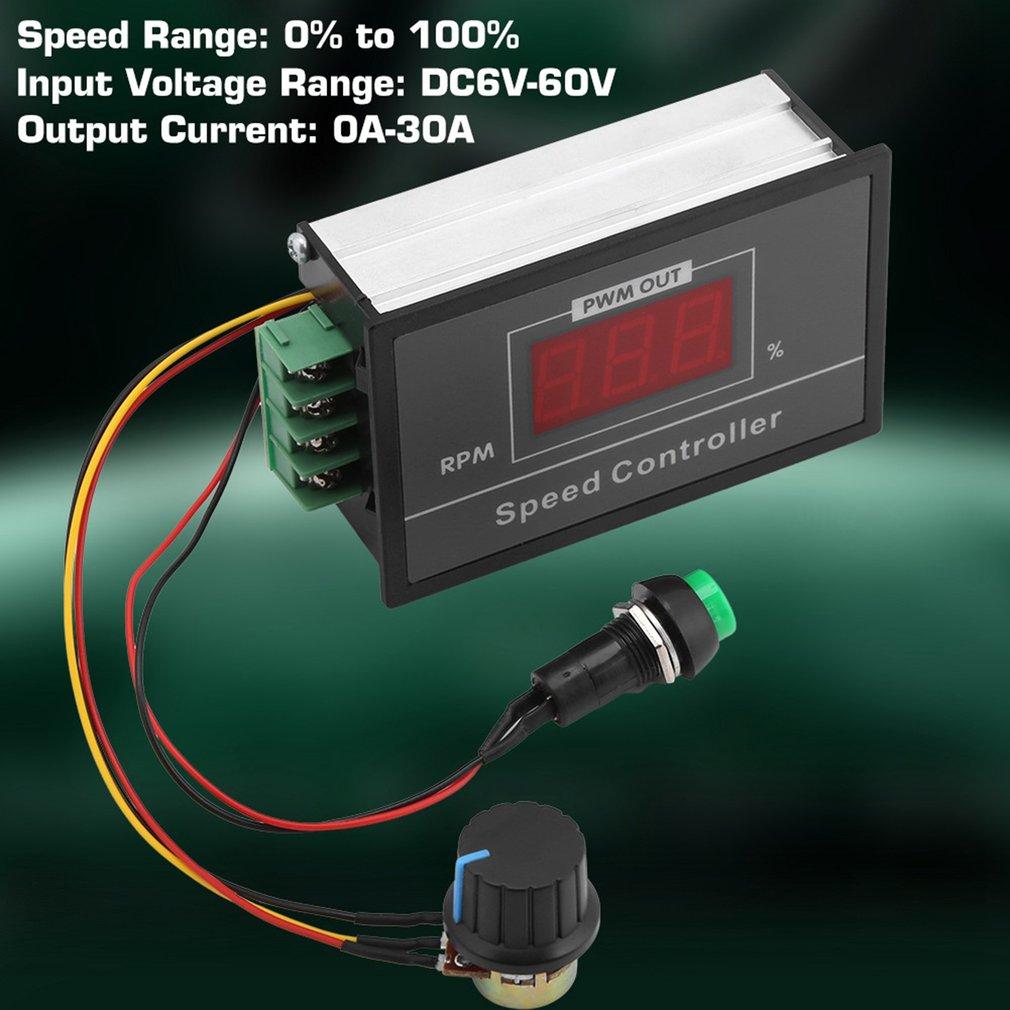 30A تيار مستمر PWM موتور سرعة تحكم LED شاشة ديجيتال 0-100% قابل للتعديل الجهد المنظم ث/الجهد التبديل