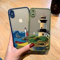 hand painted lighthouse print bird seagull phone case for iphone 11 12 pro max x xs max xr 6s 7 8 plus se 2020 hard matte covers