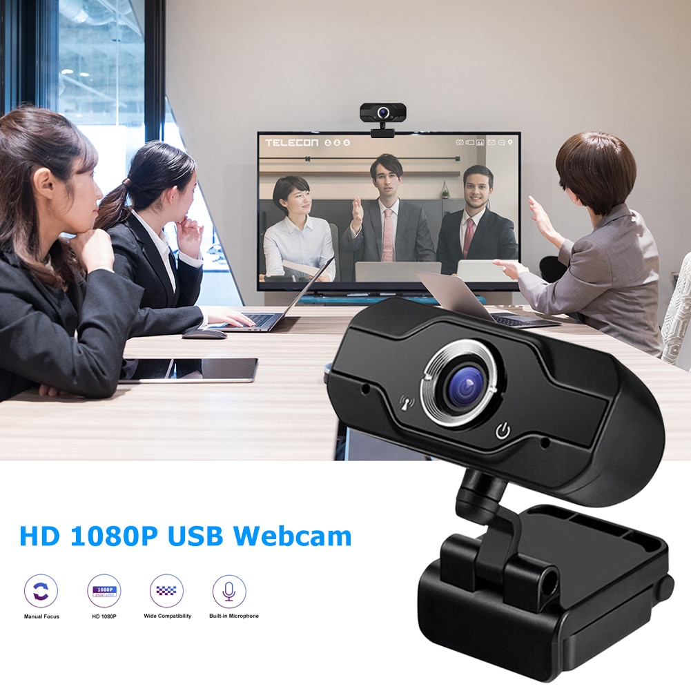 FHD 1080P USB كاميرا ويب مع ميكروفون للكمبيوتر تلفزيون فيديو مؤتمر بث مباشر كمبيوتر محمول كمبيوتر مكتبي ملحق