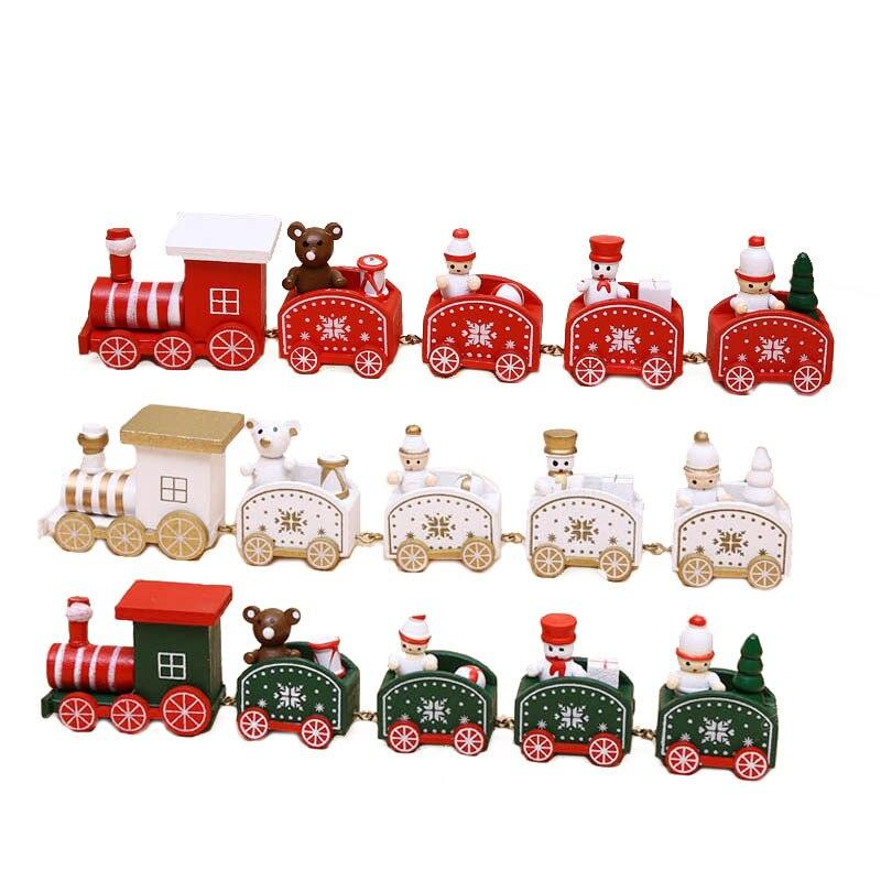 4/5 piezas MIni tren de navidad tren de Madera Juguetes de niños para decoración de tienda de escritorio navidad Santa/oso regalo de muñeco de nieve