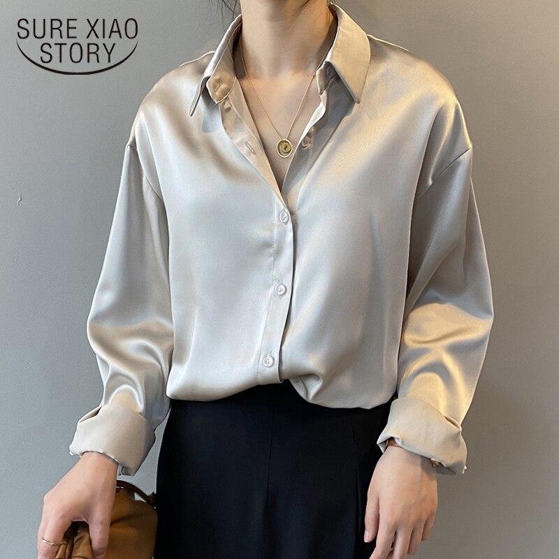 Рубашка Женская атласная с пуговицами, шелковая винтажная блузка, белая однотонная Свободная рубашка с длинным рукавом, 2021   Женская одежда   АлиЭкспресс