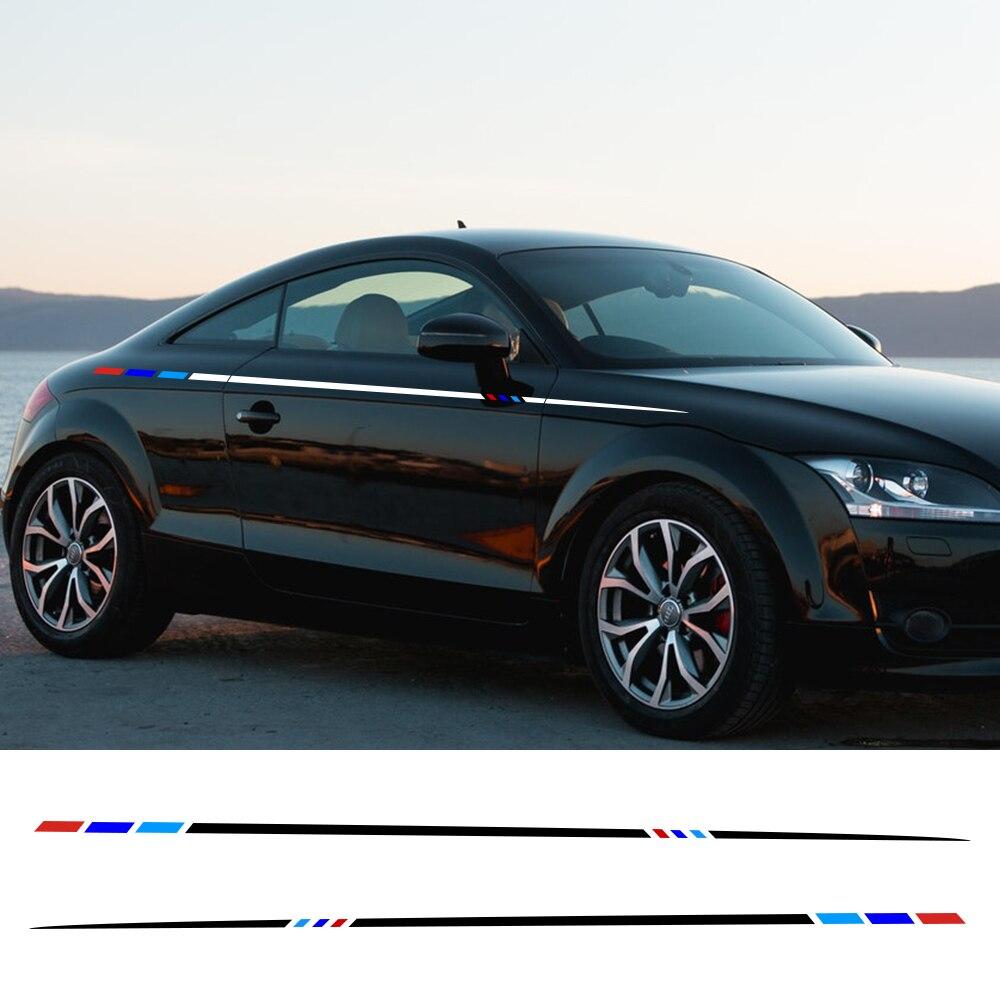 2 piezas de 250x3cm de coche de rayas laterales largas pegatinas Auto vinilo película DIY cuerpo calcomanías coche deporte estilo accesorios para automóviles