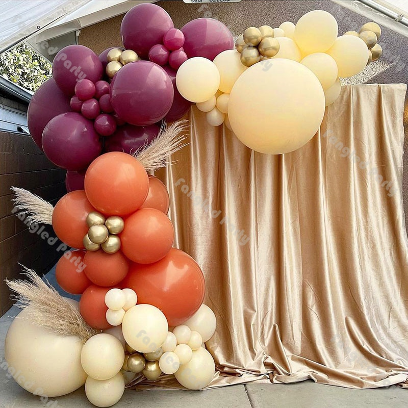 99pcs Balloon Arch Baby Shower Coral Yellow Burgundy Balloons Decor Birthday Party Wedding Anniversary Valentine's Day Supplies