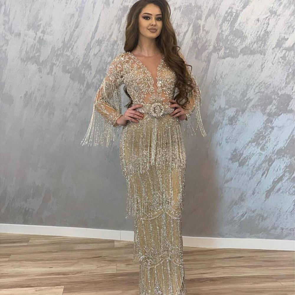 Vestidos de fiesta de noche 2020 Sparkly Arabic Sheath Prom Dresses Long Sleeves Shiny Tassels Beaded Chic Evening Dress Gowns