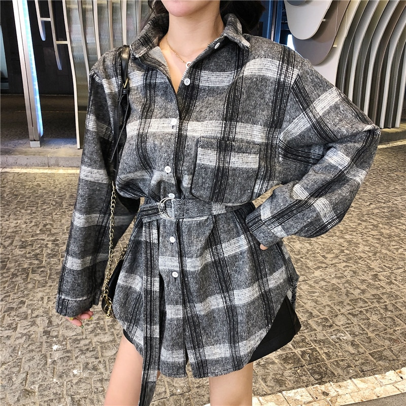 Camisas de manga larga a cuadros para mujer blusa de Primavera negra a cuadros para mujer