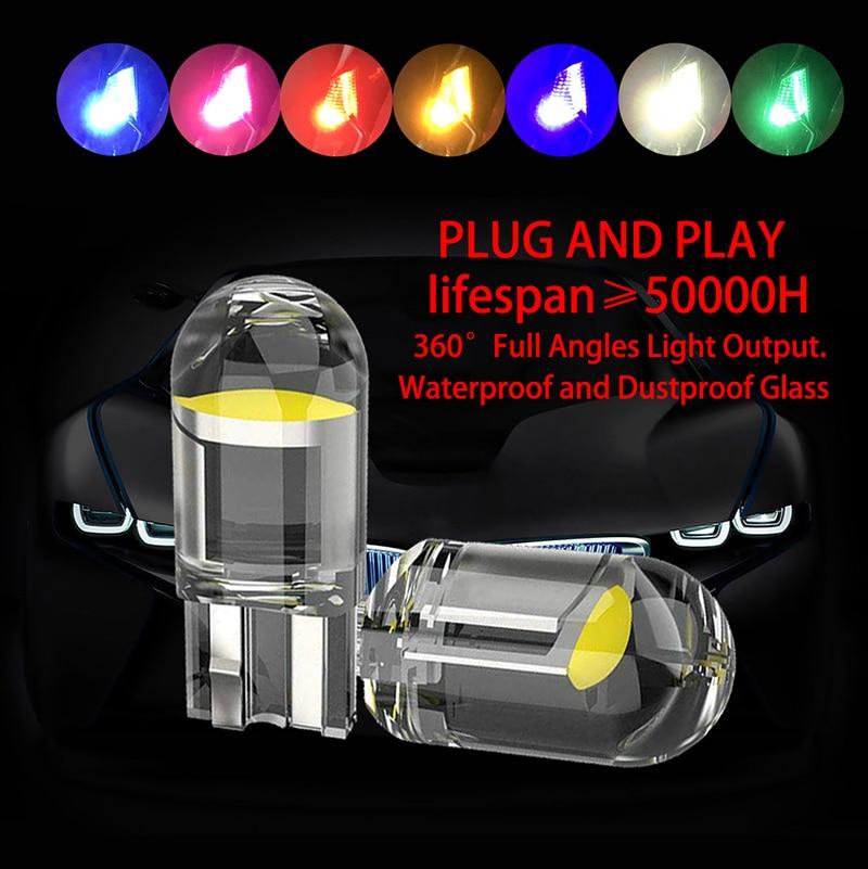 2/10 stuks W5W T10 led lamp Glas Body Cob LED Auto Gloeilamp  Wit Groen Blauw Rood Sleehak Kentekenverlichting Lichtkoepel Wit led lights