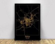 Medina Saudi-arabien Schwarz & Gold Stadt Licht Karten Custom World Stadt Karte Poster Leinwand Drucke Nordic Stil Wand Kunst wohnkultur